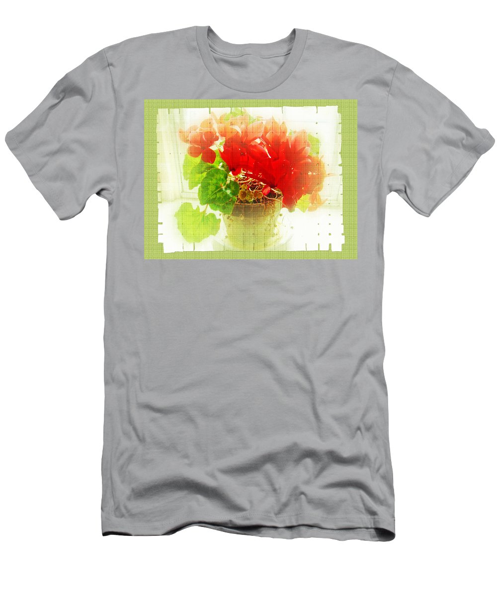 Cyclamen Men's T-Shirt (Athletic Fit) featuring the photograph Red Cyclamen On Windowsill by Mother Nature