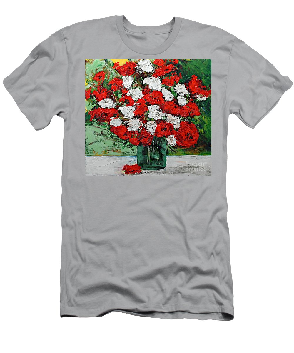 Landscape Men's T-Shirt (Athletic Fit) featuring the painting Red Explosion by Allan P Friedlander