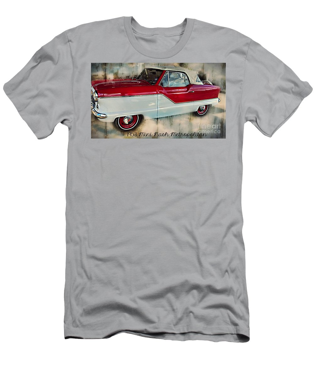 Red Mini Nash Car Men's T-Shirt (Athletic Fit) featuring the photograph Red Mini Nash Vintage Car by Peggy Franz