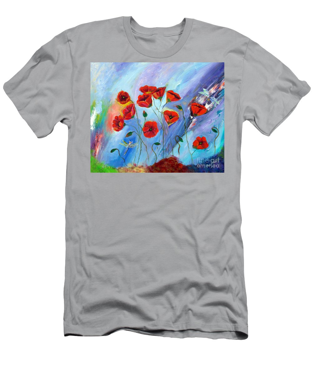 Poppy Men's T-Shirt (Athletic Fit) featuring the painting Red Poppy With Dragonfly by To-Tam Gerwe