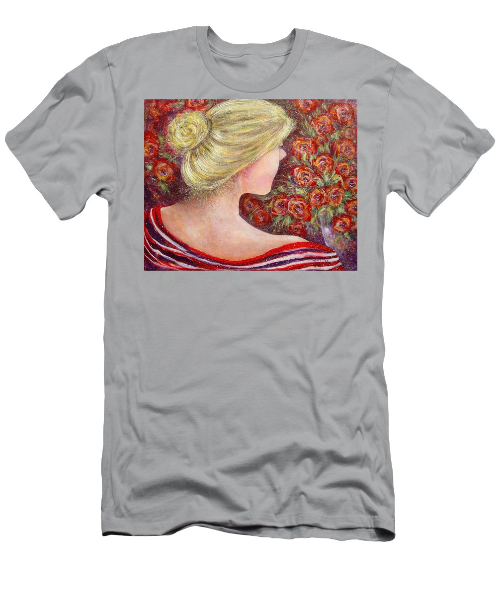 Female Men's T-Shirt (Athletic Fit) featuring the painting Red Scented Roses by Natalie Holland