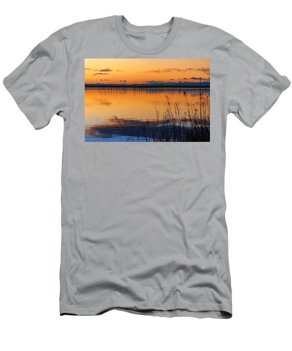 Reflections Men's T-Shirt (Athletic Fit) featuring the photograph Red Sunset. Valencia by Juan Carlos Ferro Duque