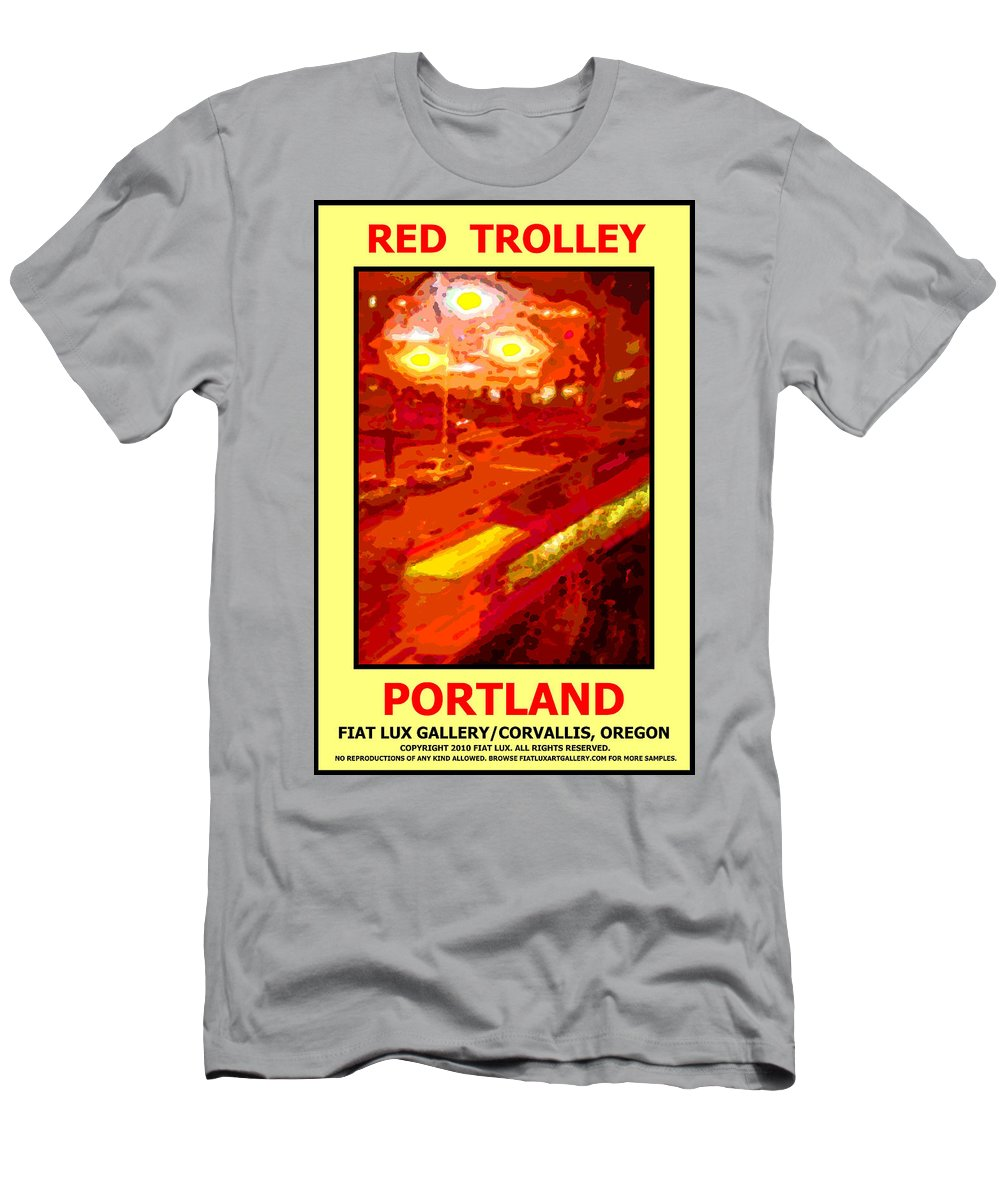 Portland Men's T-Shirt (Athletic Fit) featuring the digital art Red Trolley Portland by Michael Moore