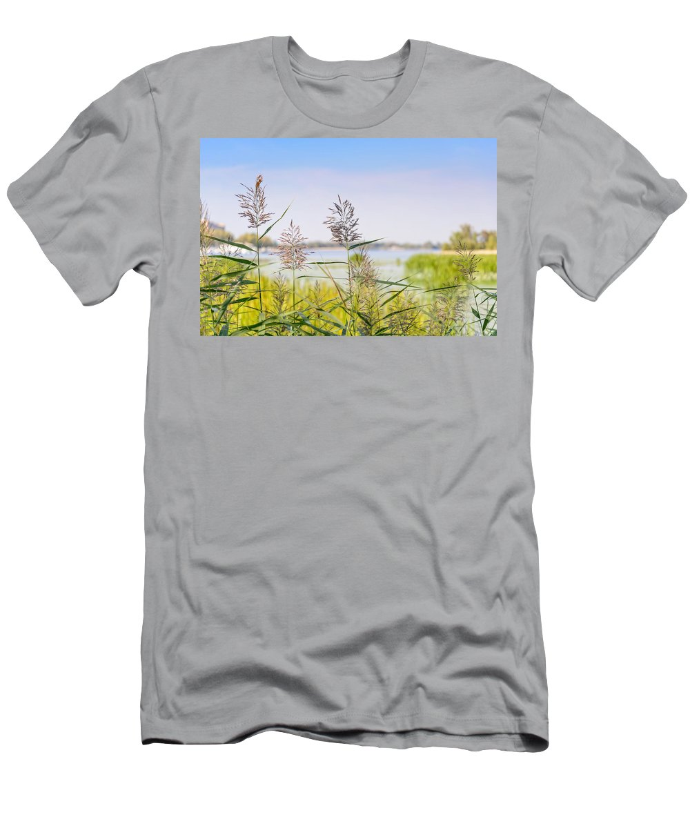 Dnieper Men's T-Shirt (Athletic Fit) featuring the photograph Reed Flowers by Alain De Maximy
