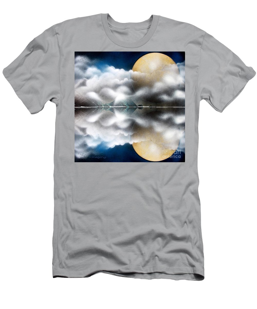 Moon Men's T-Shirt (Athletic Fit) featuring the painting Reflecting Pool by Greg Moores