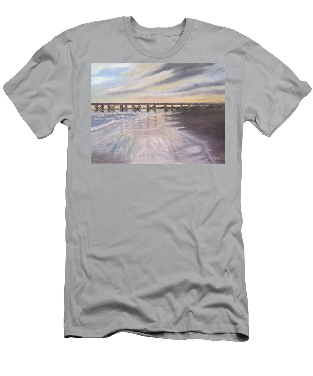 Beach; Pier; Low Country Men's T-Shirt (Athletic Fit) featuring the painting Reflections by Ben Kiger