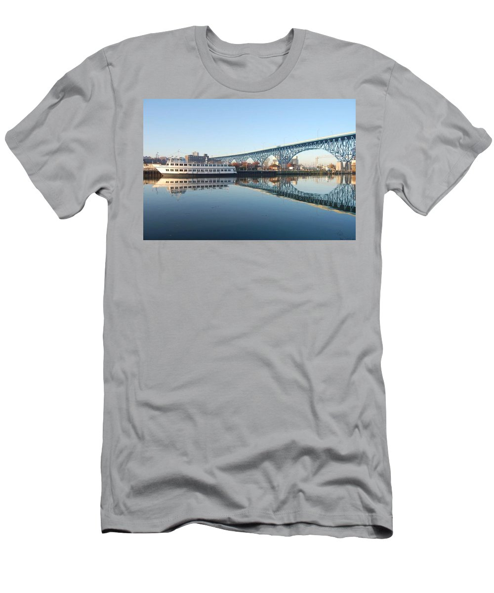 Cuyahoga River Men's T-Shirt (Athletic Fit) featuring the photograph Reflections by R A W M