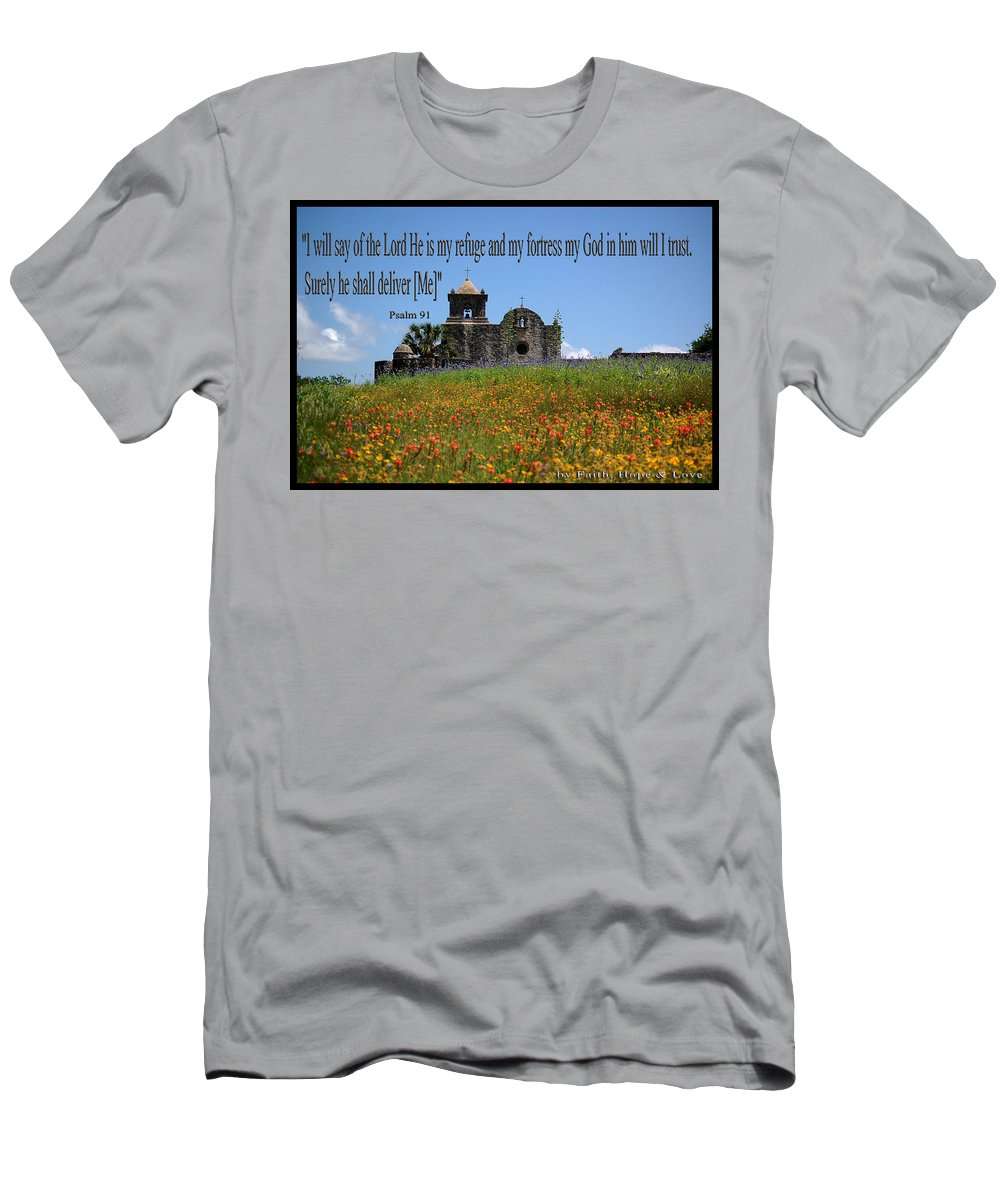Flowers Men's T-Shirt (Athletic Fit) featuring the photograph Refuge And Fortress by Leticia Latocki