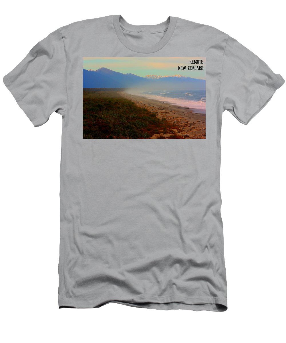 New Zealand Beach Men's T-Shirt (Athletic Fit) featuring the photograph Remote by Amanda Stadther
