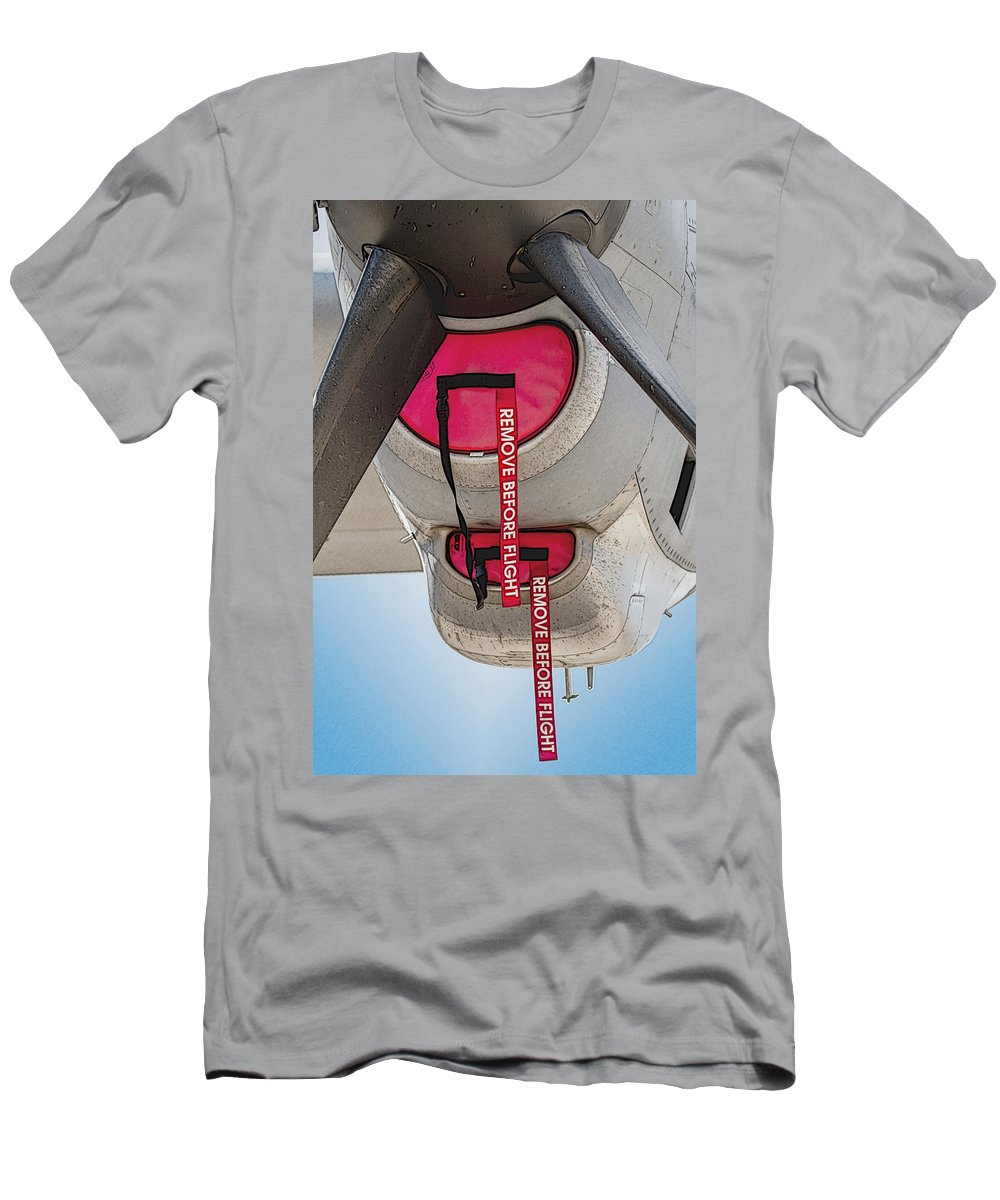 Transportation Men's T-Shirt (Athletic Fit) featuring the photograph Remove Before Flight by Melinda Ledsome