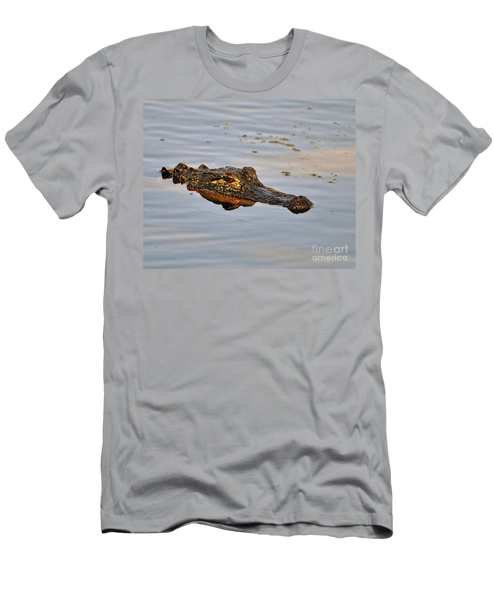 Alligator Men's T-Shirt (Athletic Fit) featuring the photograph Reptile Reflection by Al Powell Photography USA