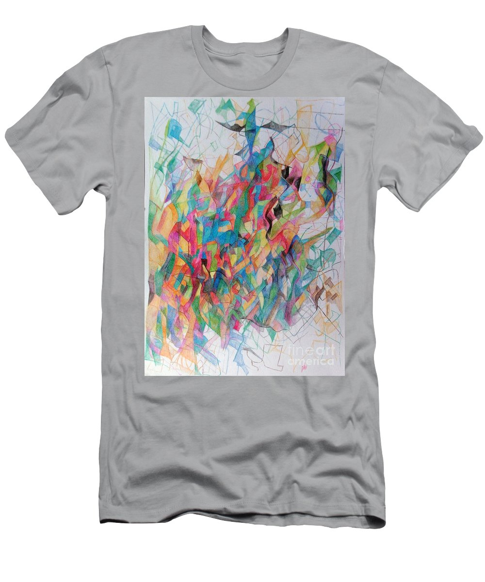Torah Men's T-Shirt (Athletic Fit) featuring the drawing Requiring Further Study 1 by David Baruch Wolk