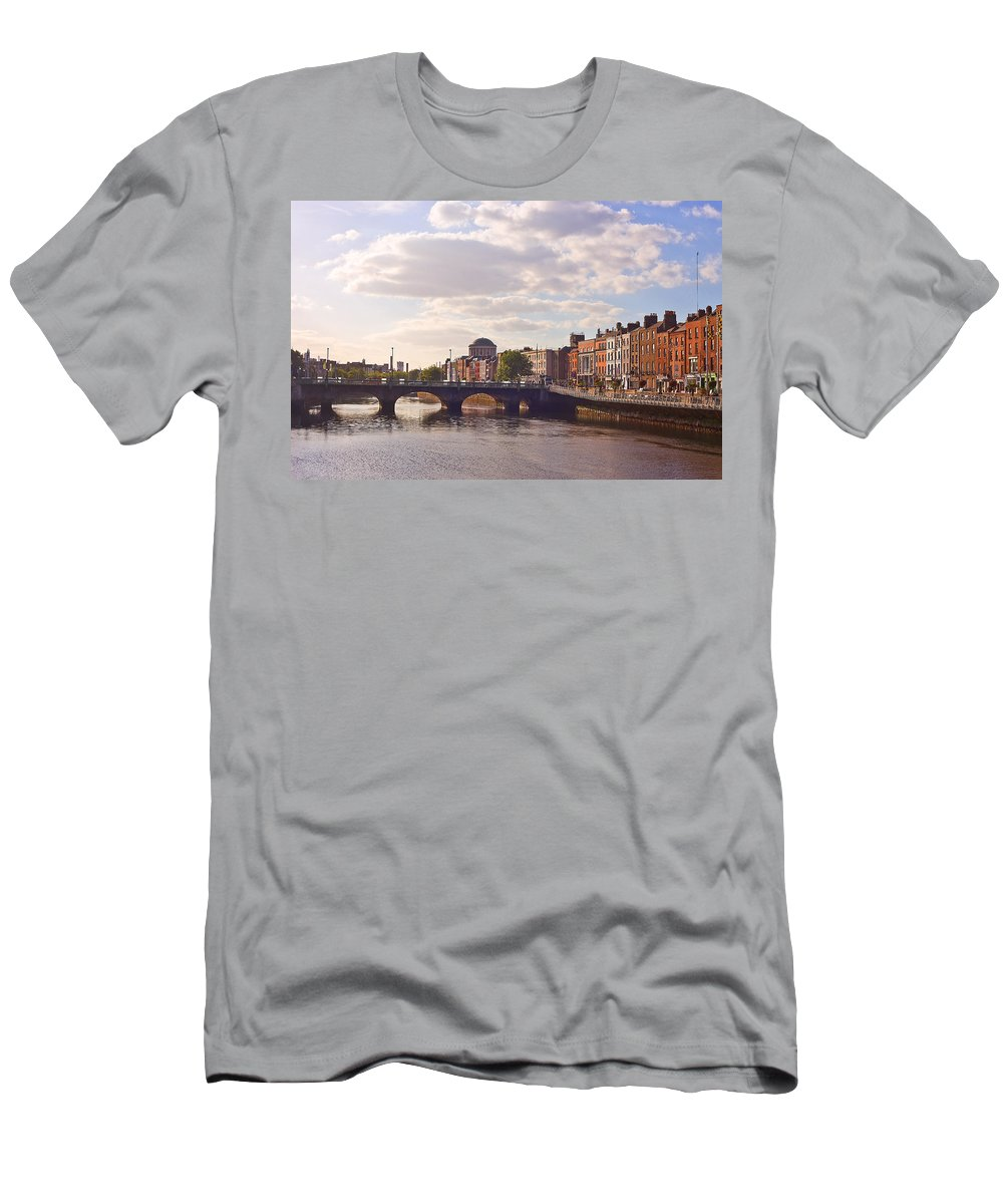 River Liffey Men's T-Shirt (Athletic Fit) featuring the photograph River Liffey 2 - Dublin by Alex Art and Photo