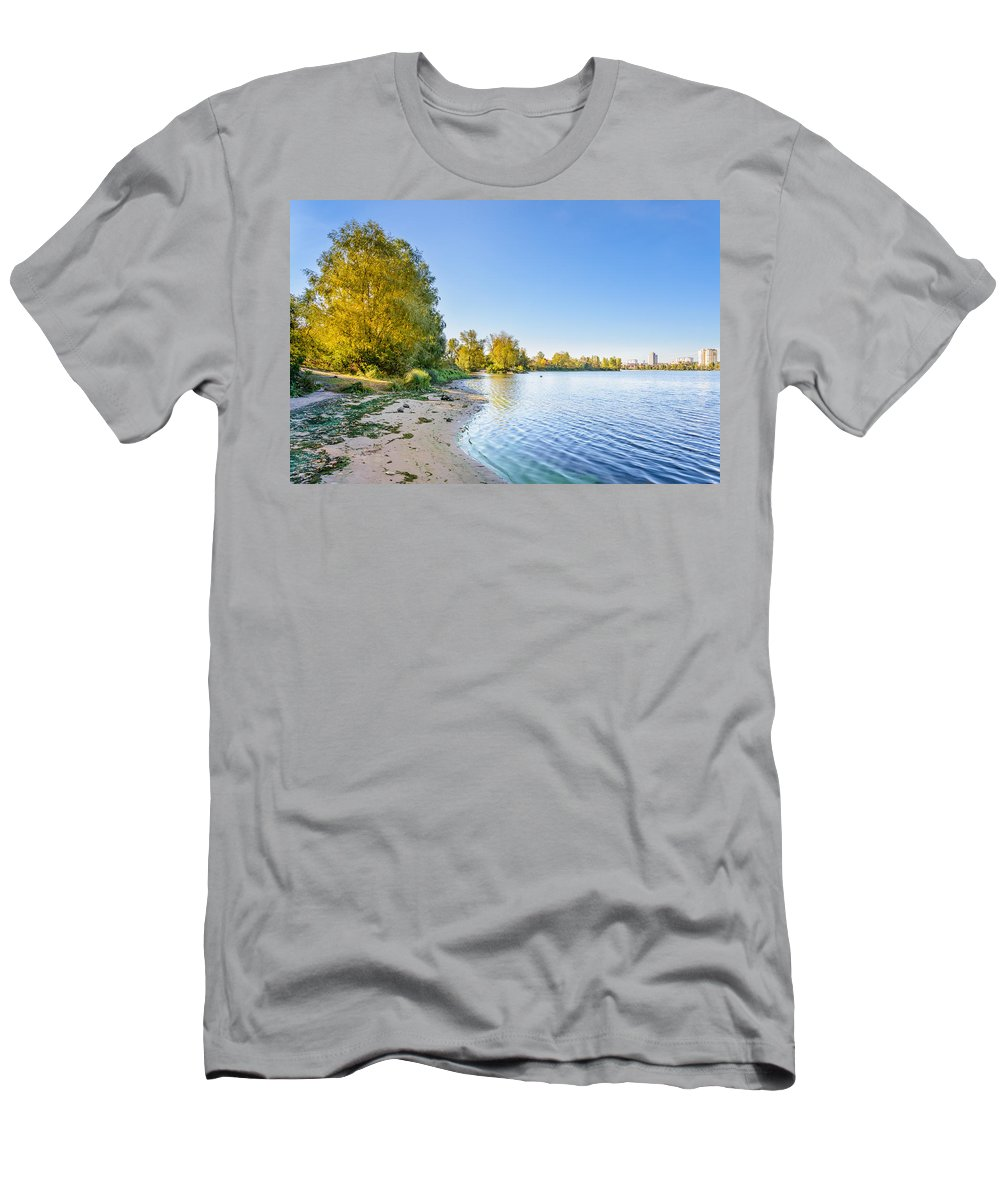 Dnieper Men's T-Shirt (Athletic Fit) featuring the photograph River Shore And Trees by Alain De Maximy