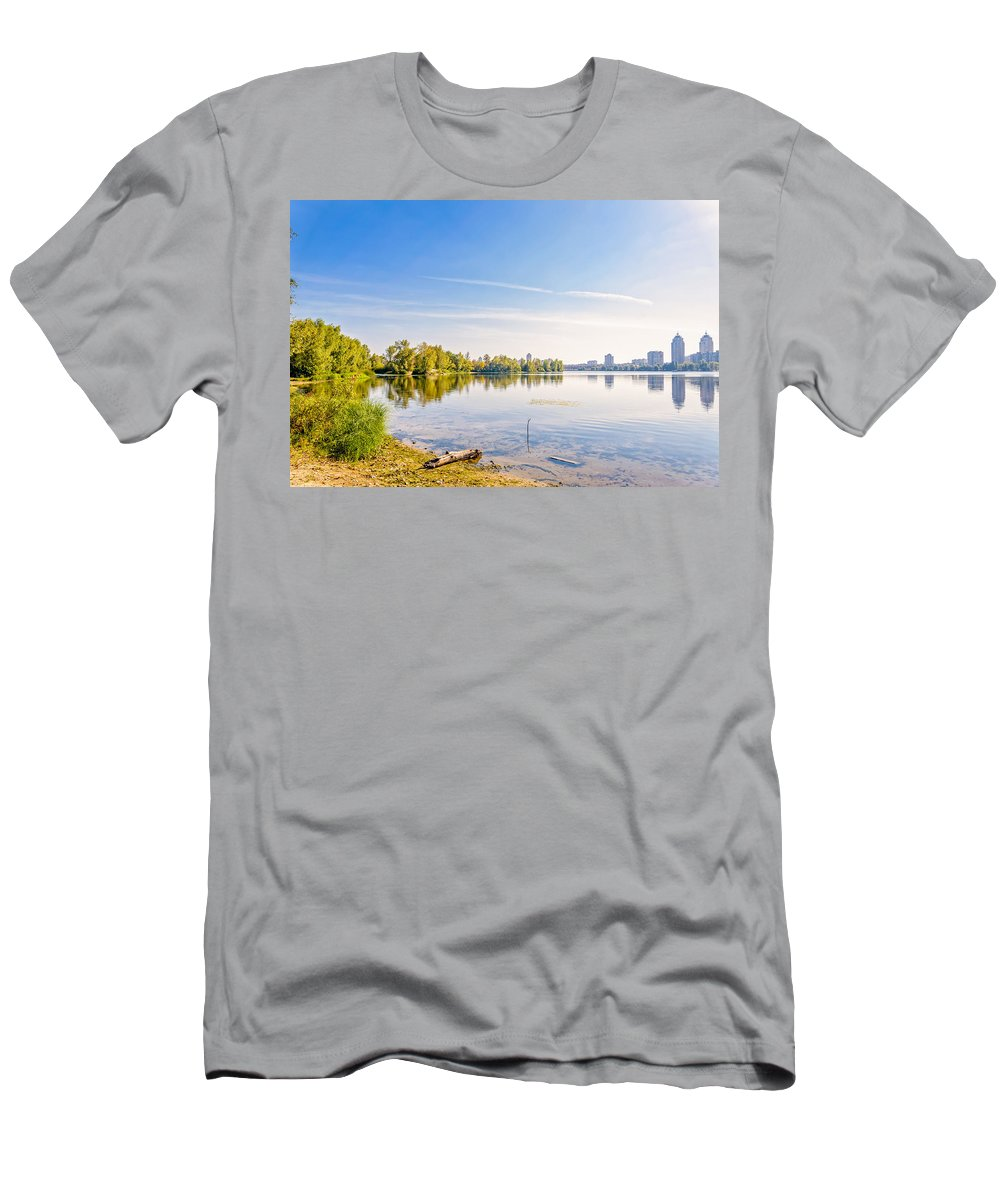 Dnieper Men's T-Shirt (Athletic Fit) featuring the photograph River Trees And City Skyline by Alain De Maximy