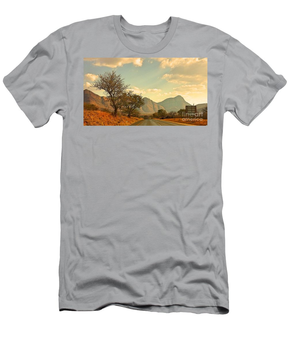 Road Men's T-Shirt (Athletic Fit) featuring the photograph Road Trip Mountains by Lisa Byrne