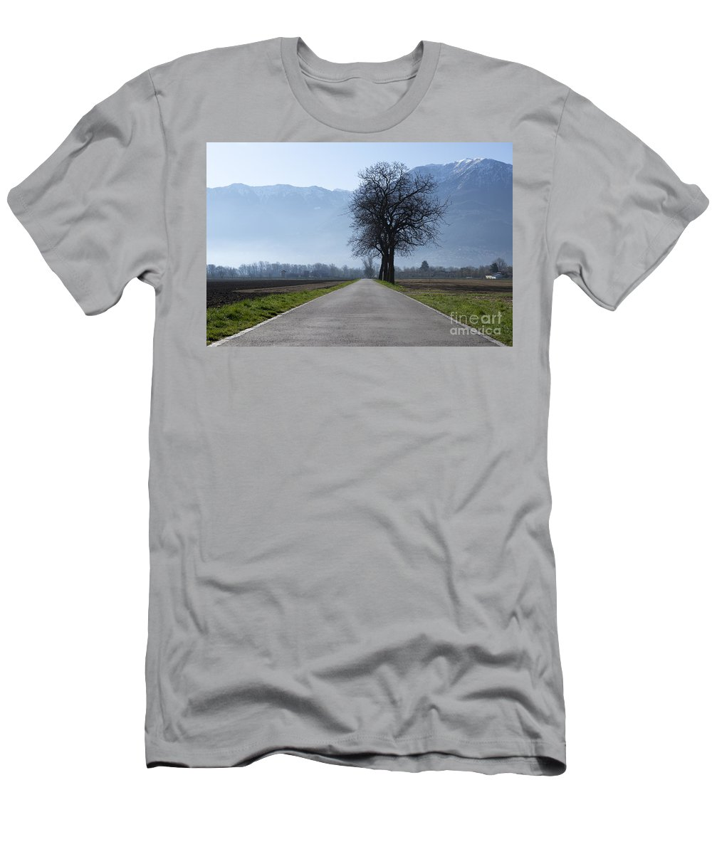 Road Men's T-Shirt (Athletic Fit) featuring the photograph Road With Trees by Mats Silvan