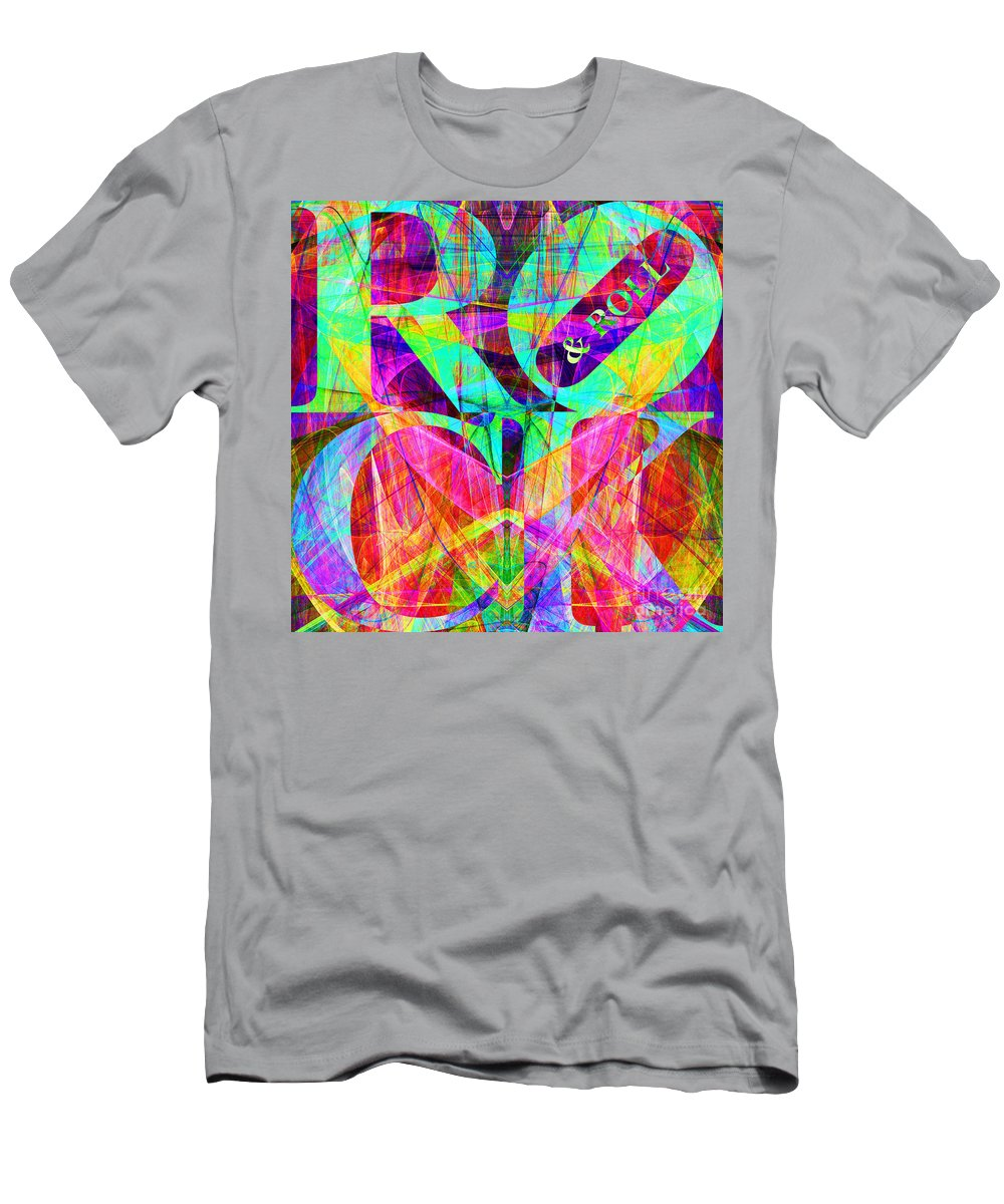 Abstract T-Shirt featuring the digital art Rock And Roll 20130708 Fractal by Wingsdomain Art and Photography