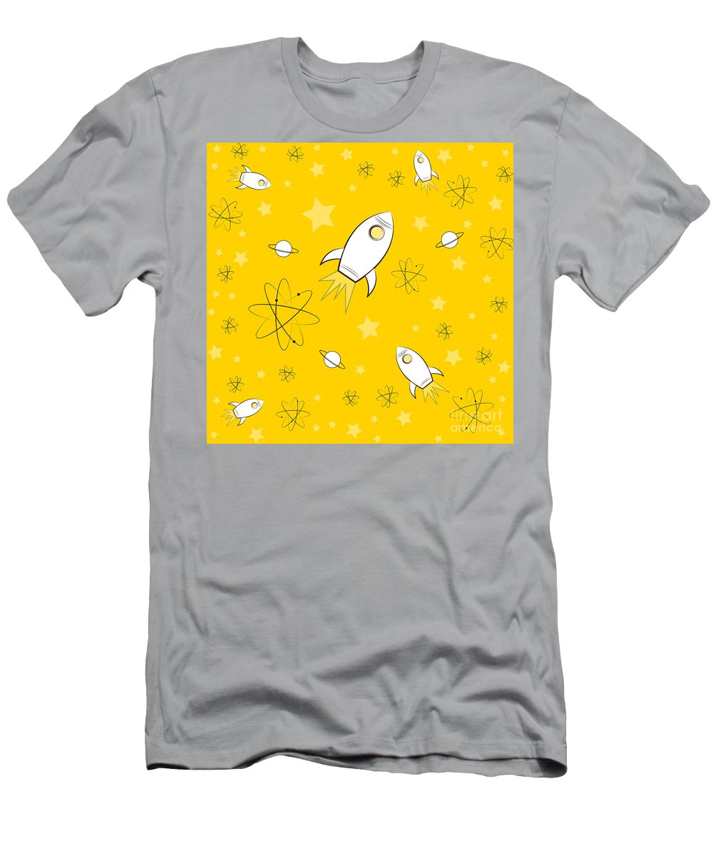 Rocket Men's T-Shirt (Athletic Fit) featuring the painting Rocket Science Yellow by Amy Kirkpatrick