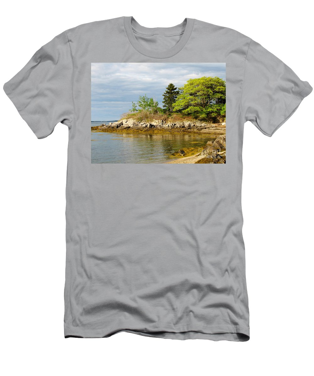 Maine Men's T-Shirt (Athletic Fit) featuring the photograph Rocky Coast In Maine by DejaVu Designs