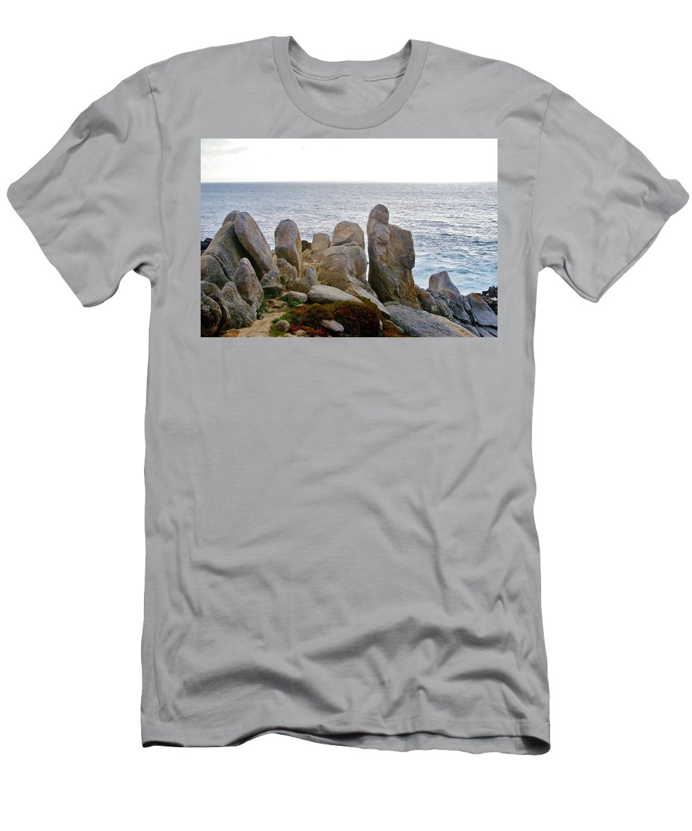 Barbara Snyder Men's T-Shirt (Athletic Fit) featuring the digital art Rocky Seascape by Barbara Snyder