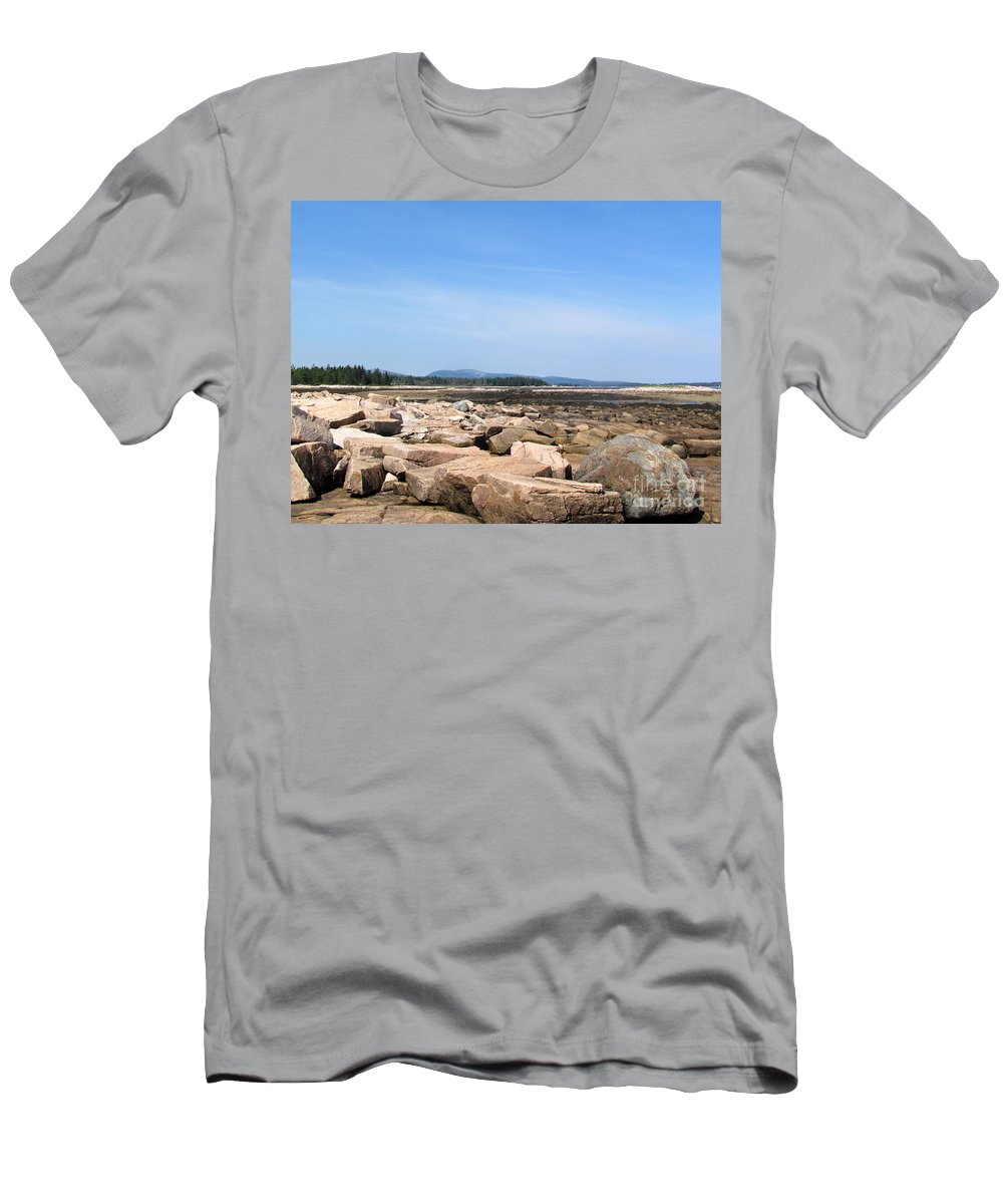 Acadia Men's T-Shirt (Athletic Fit) featuring the photograph Rocky Shore To Rocky Mountain by Elizabeth Dow
