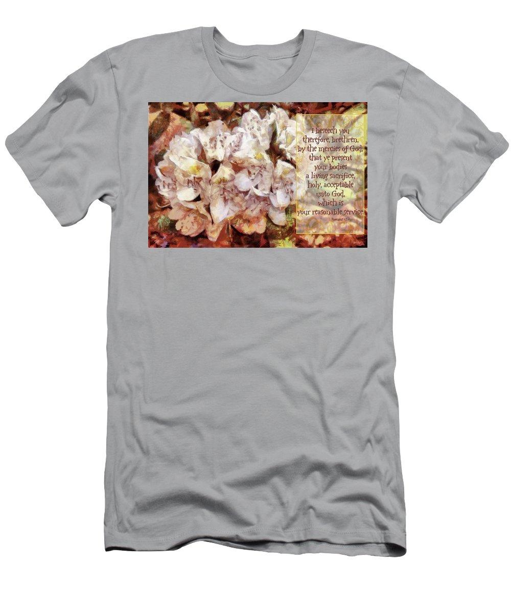 Jesus Men's T-Shirt (Athletic Fit) featuring the digital art Romans 12 1 by Michelle Greene Wheeler
