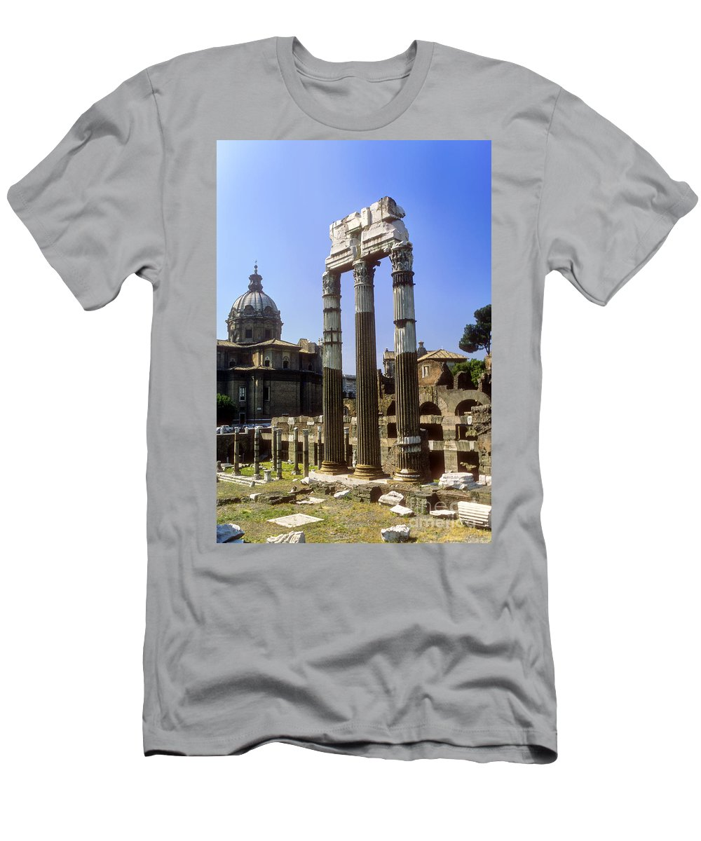 Roman Forum Rome Ruin Ruins City Cities Cityscape Cityscapes Column Columns Structure Structures Architecture Building Buildings Italy Men's T-Shirt (Athletic Fit) featuring the photograph Romr Forum Columns by Bob Phillips