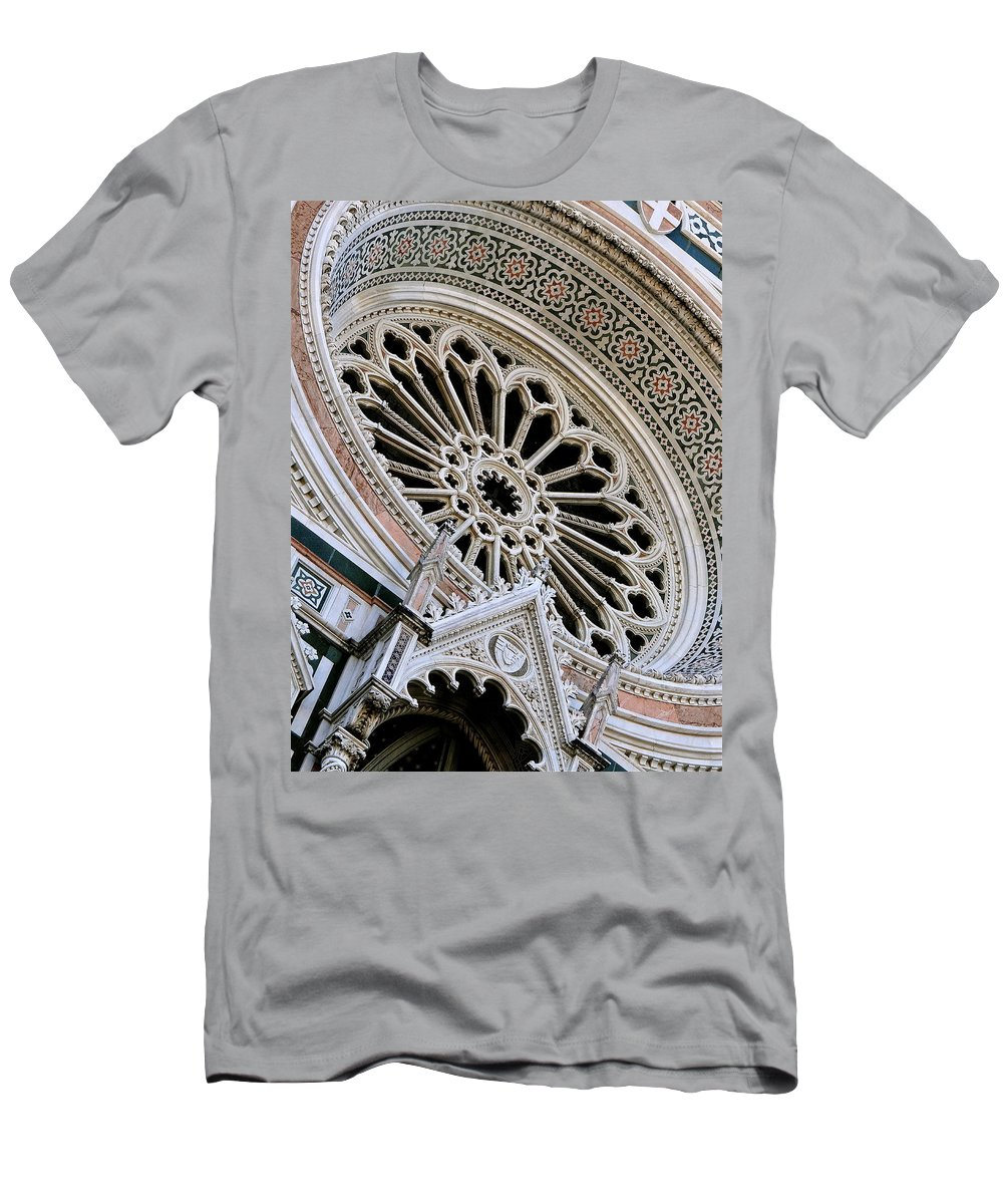 Duomo Men's T-Shirt (Athletic Fit) featuring the photograph Rose Window Duomo Florence by Ira Shander