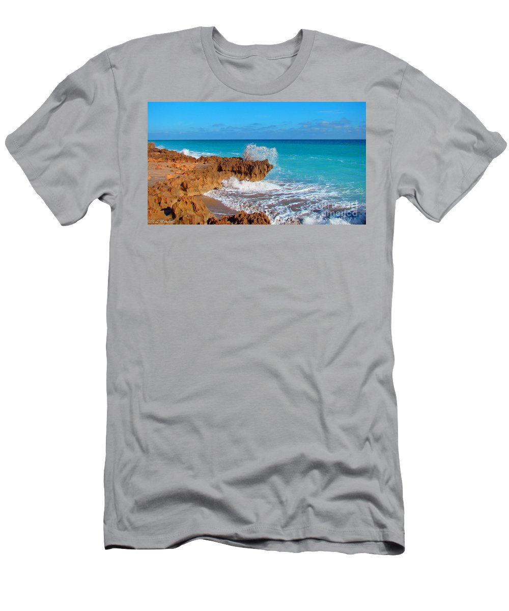 Rocks Men's T-Shirt (Athletic Fit) featuring the photograph Ross Witham Beach 5 by Nancy L Marshall