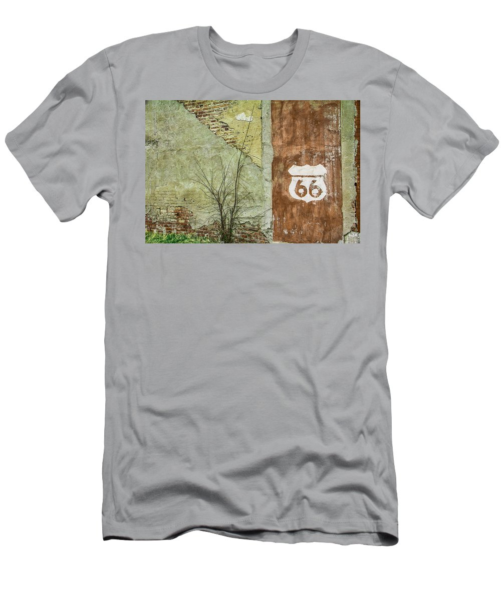 Steven Bateson Men's T-Shirt (Athletic Fit) featuring the photograph Route 66 Brick And Mortar by Steven Bateson