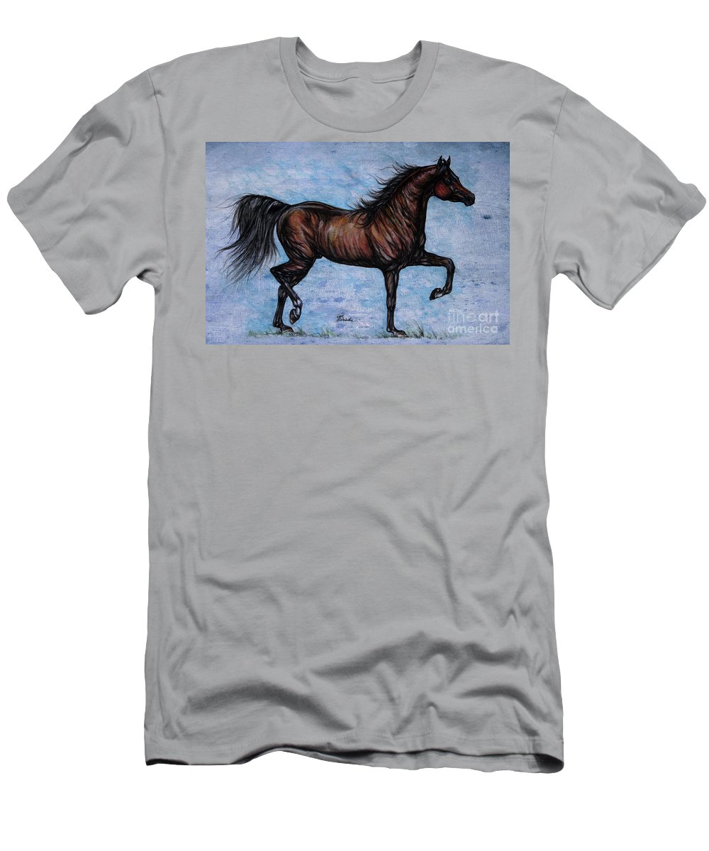 Horse Men's T-Shirt (Athletic Fit) featuring the painting Running In The Blue by Angel Ciesniarska