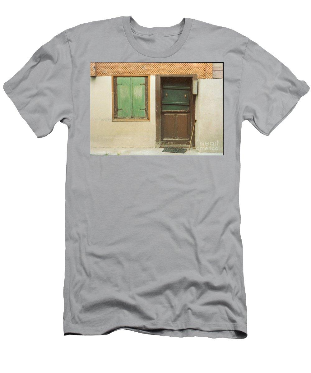 Wooden Door Men's T-Shirt (Athletic Fit) featuring the photograph Rustic Door by Christine Jepsen