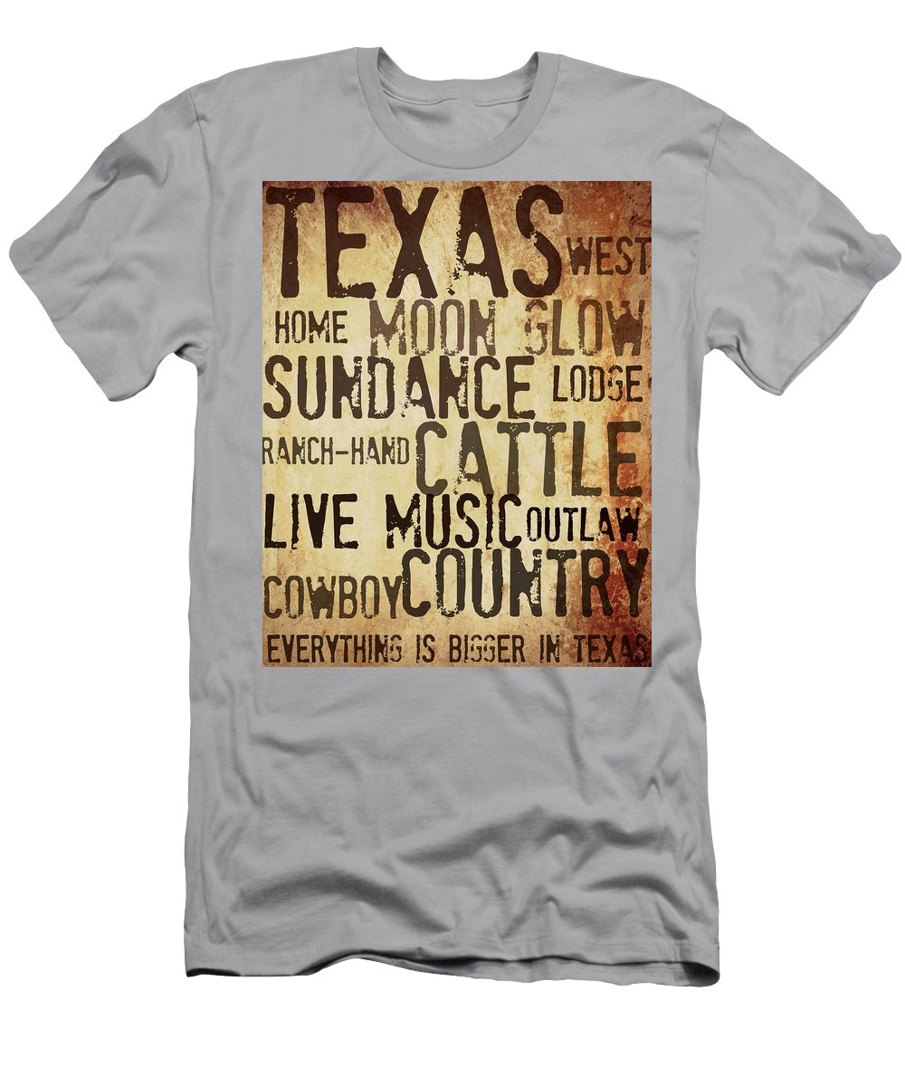 Texas Art Men's T-Shirt (Athletic Fit) featuring the mixed media Rustic Texas Art by Chastity Hoff