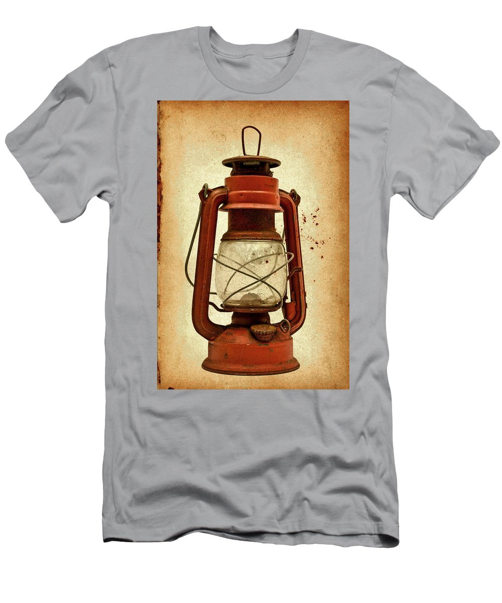 Lantern Men's T-Shirt (Athletic Fit) featuring the photograph Rusty Old Lantern On Aged Textured Background E59 by Wendell Franks