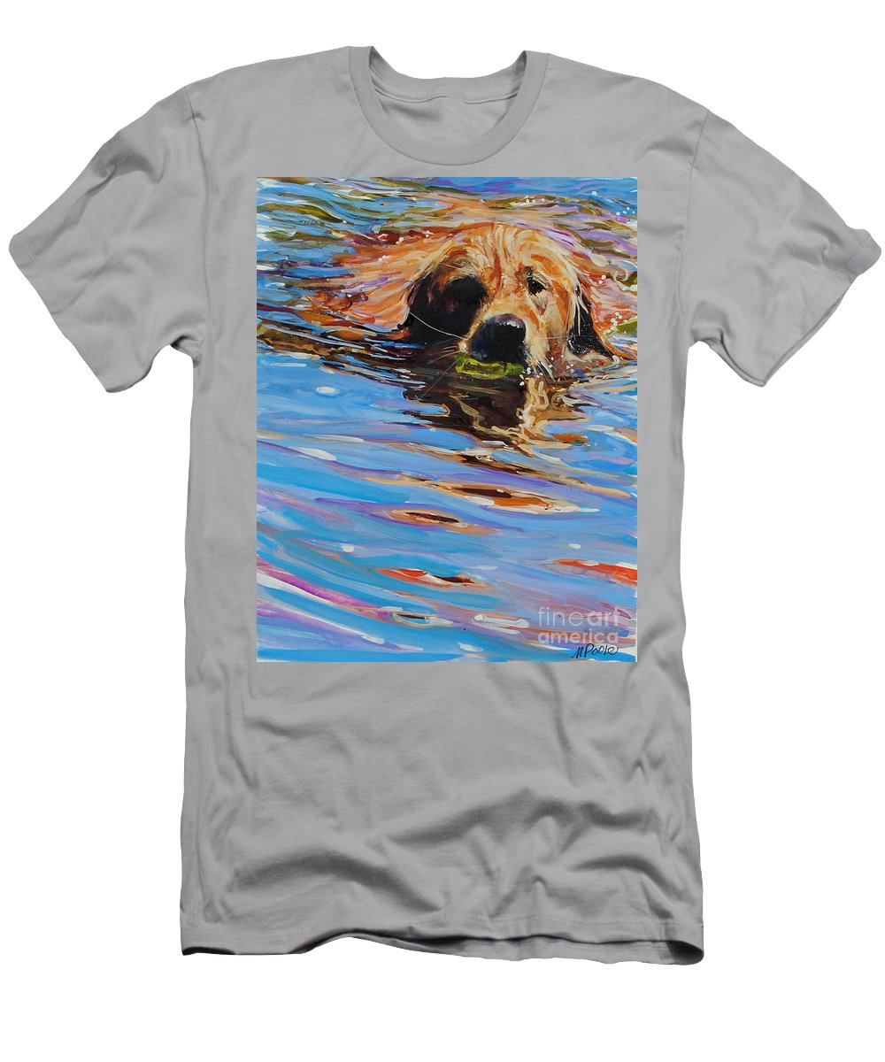 Golden Retriever T-Shirt featuring the painting Sadie Has A Ball by Molly Poole