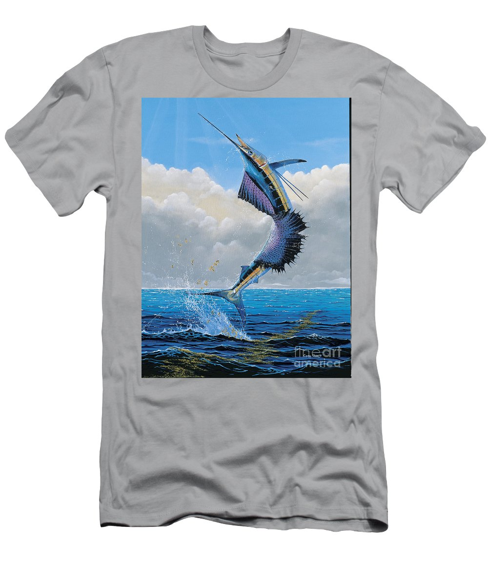 Sailfish Men's T-Shirt (Athletic Fit) featuring the painting Sailfish Dance Off0054 by Carey Chen