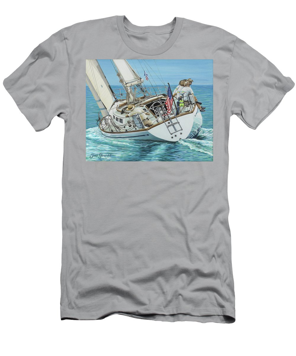 Ocean Men's T-Shirt (Athletic Fit) featuring the painting Sailing Away by Jane Girardot