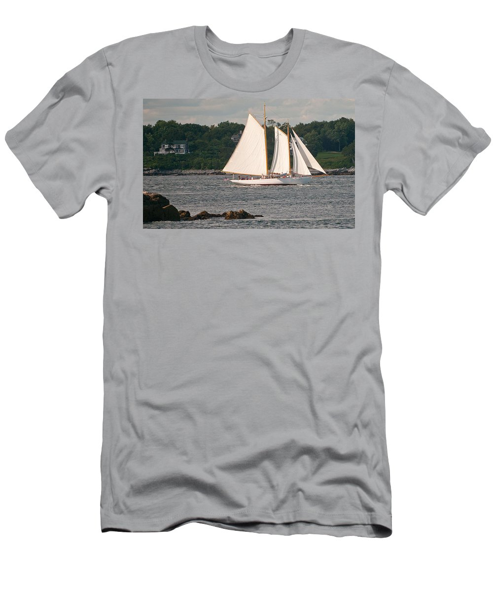 sailing Men's T-Shirt (Athletic Fit) featuring the photograph Sailing Portland by Paul Mangold
