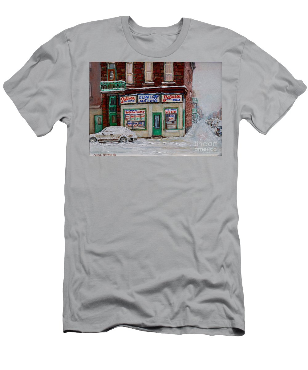 Montreal Men's T-Shirt (Athletic Fit) featuring the painting Salaison Ideale Montreal by Carole Spandau