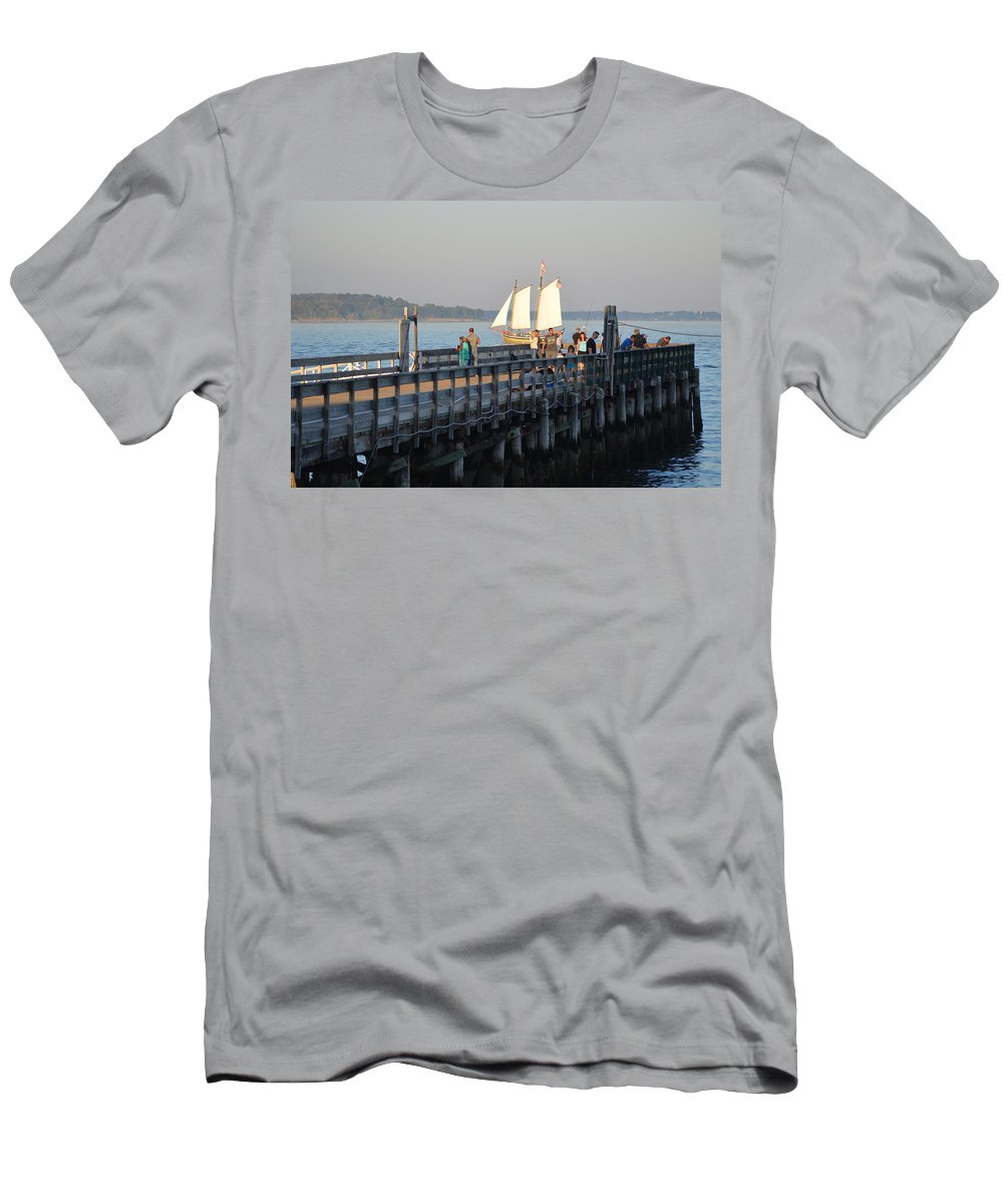 Salem Willows Men's T-Shirt (Athletic Fit) featuring the photograph Salem Willows Sailboat by Toby McGuire