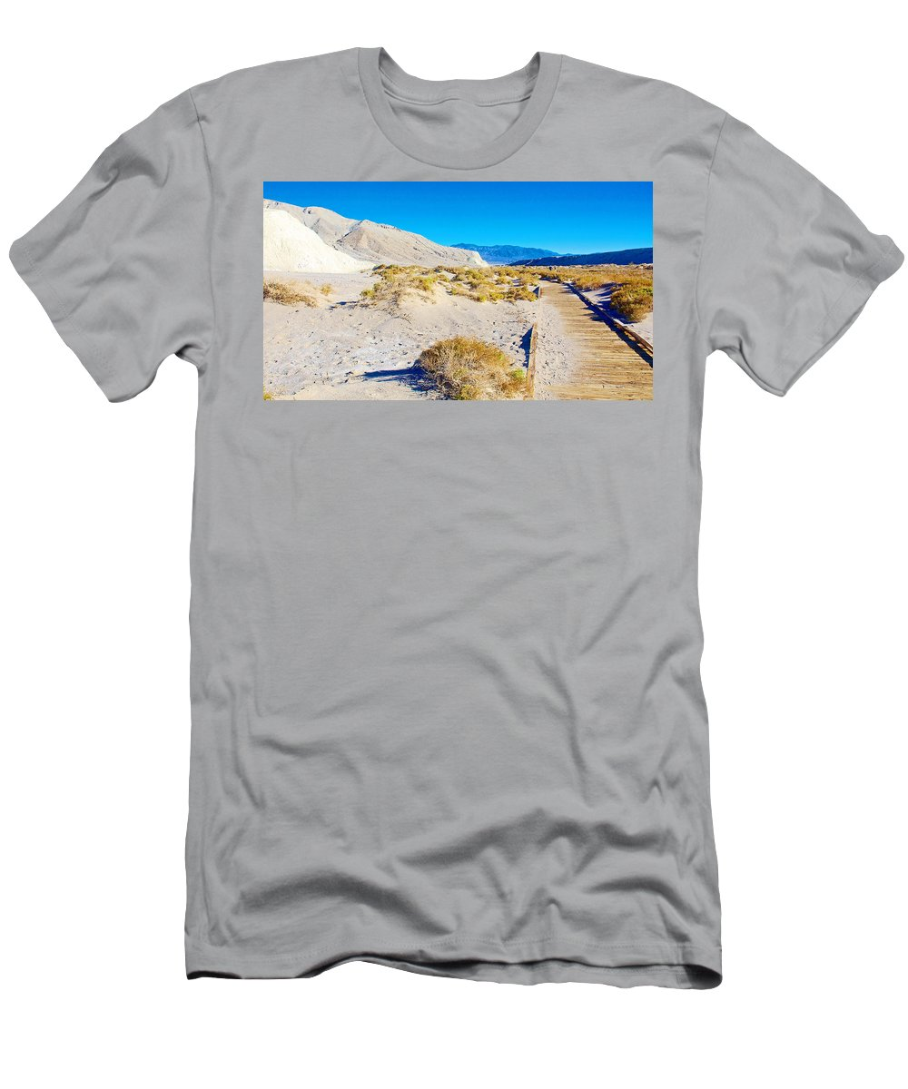 Salt Creek Boardwalk Trail In Death Valley National Park Men's T-Shirt (Athletic Fit) featuring the photograph Salt Creek Boardwalk Trail In Death Valley National Park-california by Ruth Hager
