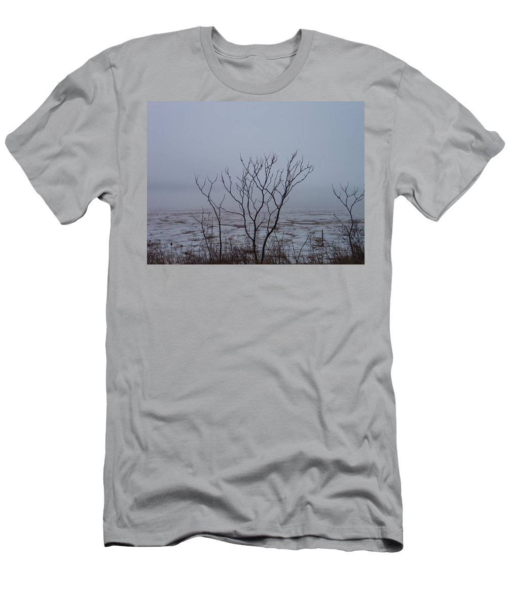 Sandy Point Men's T-Shirt (Athletic Fit) featuring the photograph Salt Marsh Submerged In Fog by Two Bridges North