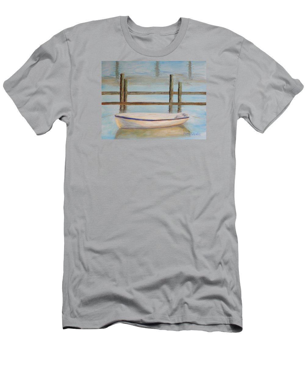 Boat Men's T-Shirt (Athletic Fit) featuring the painting Salt Run Morning by Patty Weeks