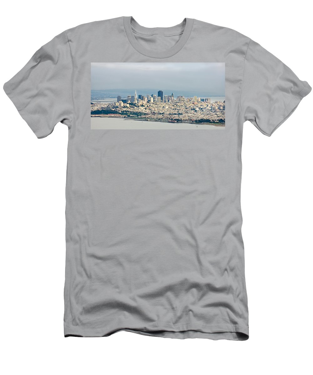 Pano Men's T-Shirt (Athletic Fit) featuring the photograph San Francisco Panorama by Gene Norris