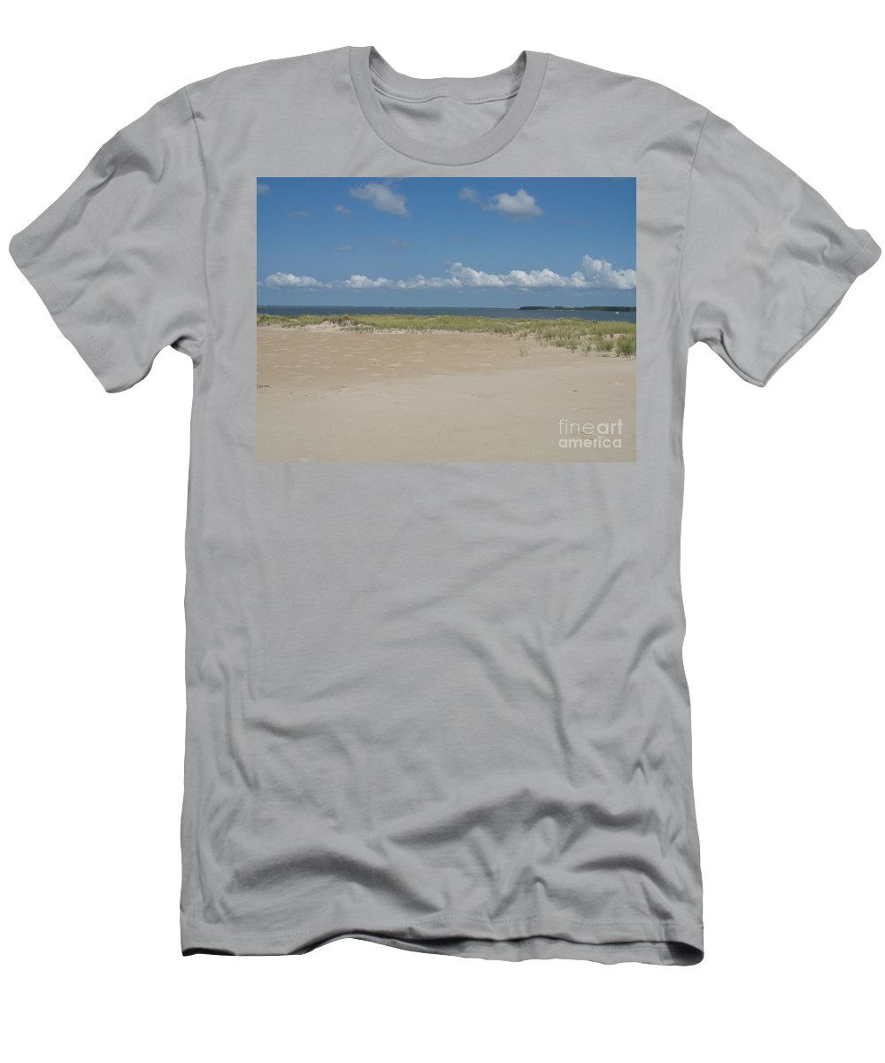 Sea Men's T-Shirt (Athletic Fit) featuring the photograph Sand And Ocean Of Assateague Island National Seashore by Christiane Schulze Art And Photography