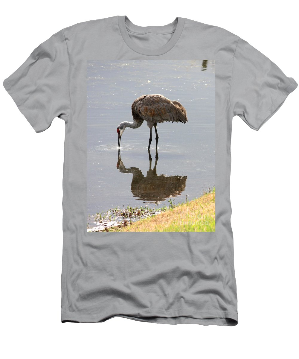 Sandhill Crane Men's T-Shirt (Athletic Fit) featuring the photograph Sandhill Crane On Sparkling Pond by Carol Groenen