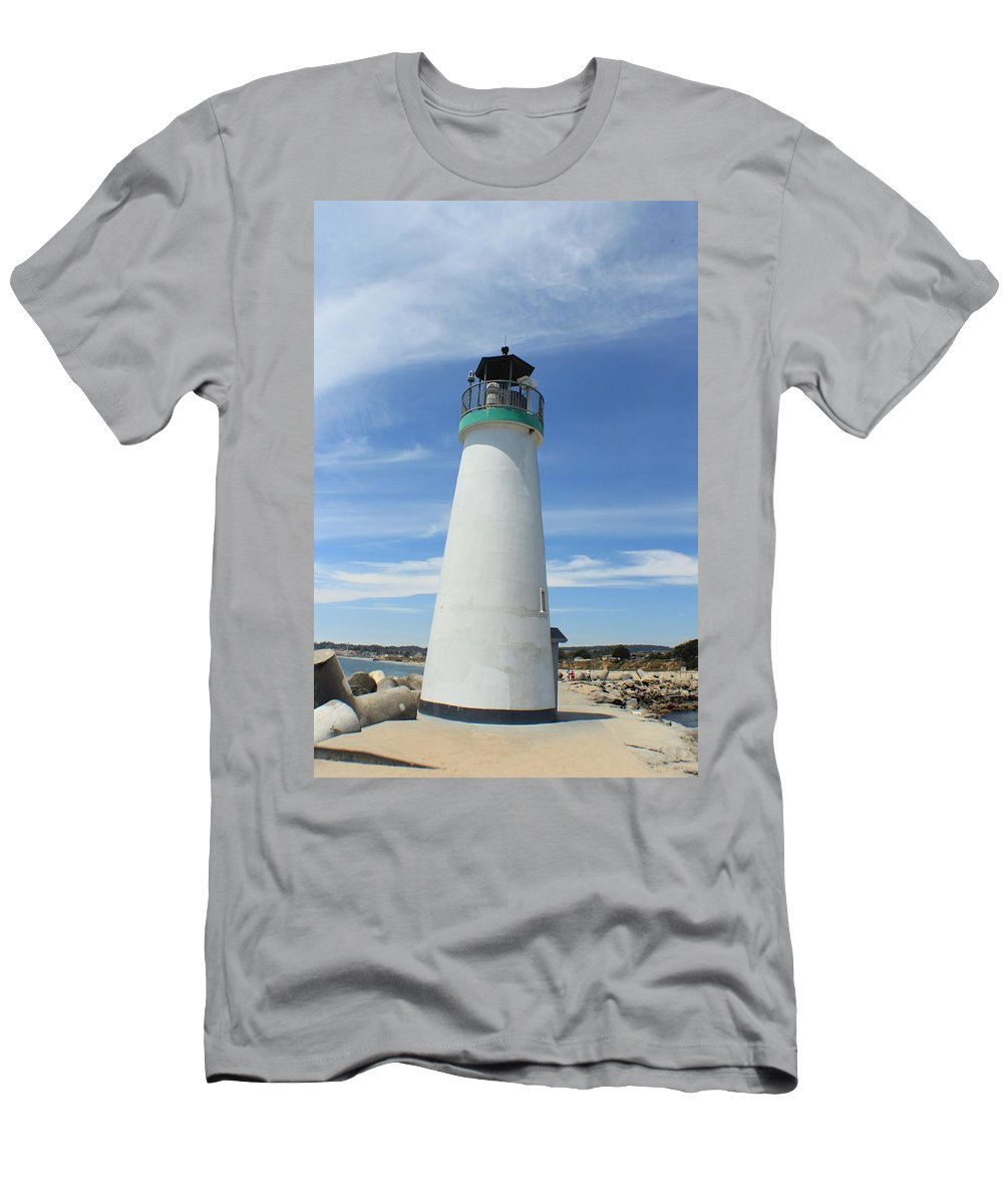 Light House Santa Cruz Men's T-Shirt (Athletic Fit) featuring the photograph Santa Cruz Lighthouse by Robert Phelan