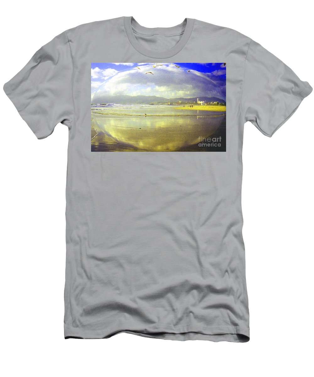 Santa Monica Men's T-Shirt (Athletic Fit) featuring the photograph Santa Monica Beach by Jerome Stumphauzer