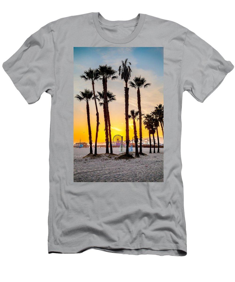 Los Angeles Men's T-Shirt (Athletic Fit) featuring the photograph Santa Monica Palms by Az Jackson